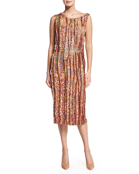 Nina Ricci Sleeveless Sequined Cocktail Sheath Dress, Peanut