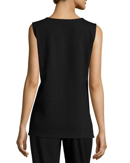 Caroline Rose Plus Size Ponte Knit Longer Tank, Black