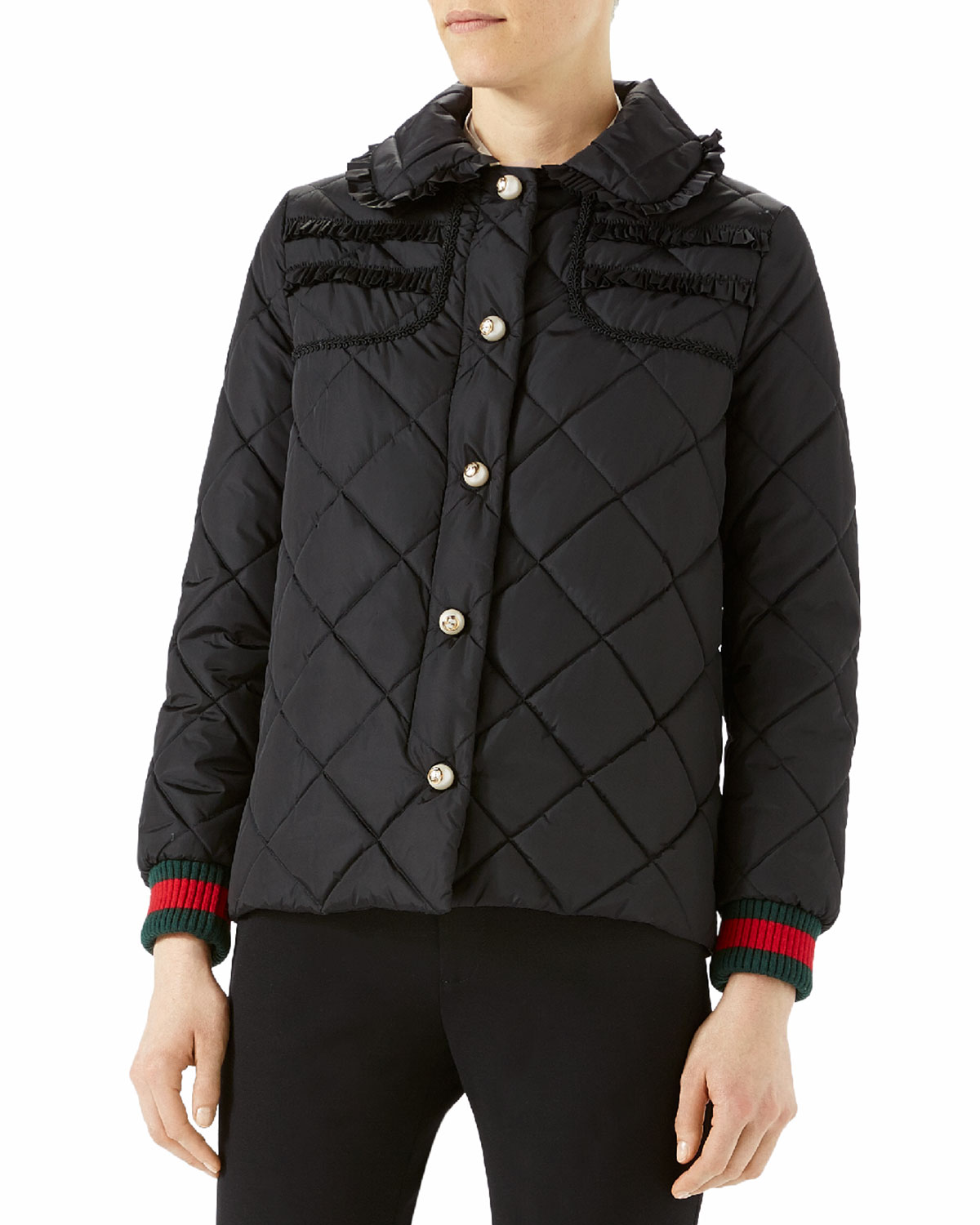 fa4f4369b2 Quilted Jacket with Web, Black