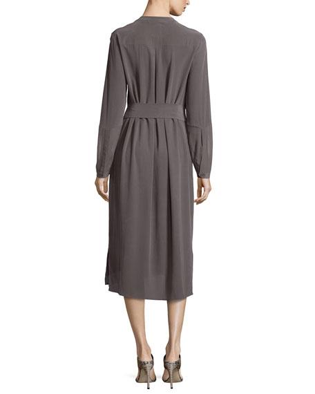 Go Silk Long-Sleeve Silk Shirtdress, Petite