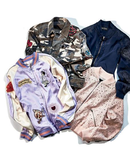 Antonella Silk Bomber Jacket w/ Lacy Sleeves