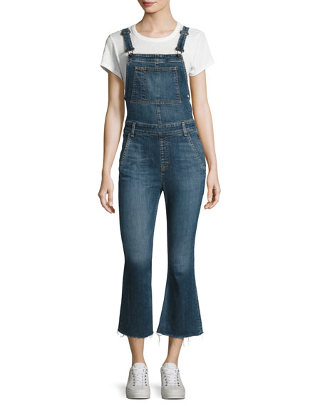 Denim Raw-Hem Cropped Flare-Leg Overalls, Paz