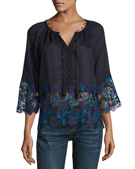 Elie Tahari Mariella Linen Blouse w/ Embroidered Lace