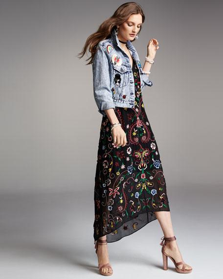 Jameson Floral Embroidered Y-Back Midi Dress, Black Multicolor