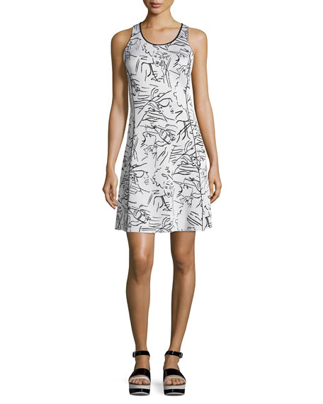Antonio Sketches Jacquard Sleeveless Dress, White