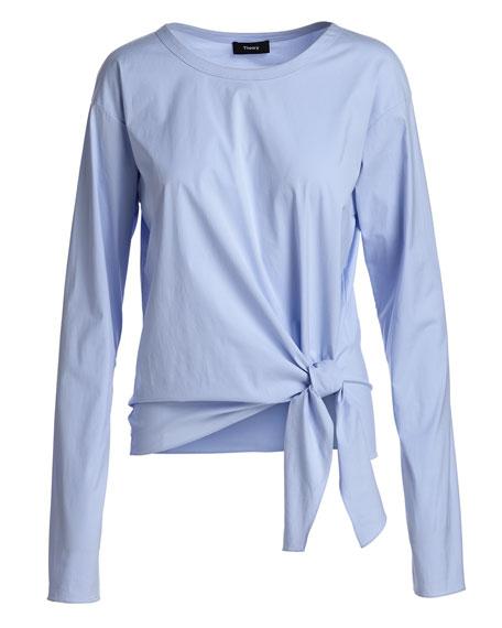 Serah Stretch-Cotton Tie-Waist Top