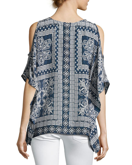 Serena Open-Shoulder Printed Tunic, Plus Size