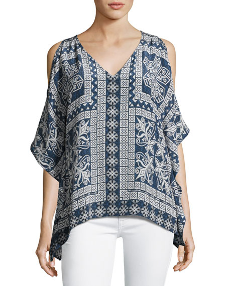 Serena Open-Shoulder Printed Tunic
