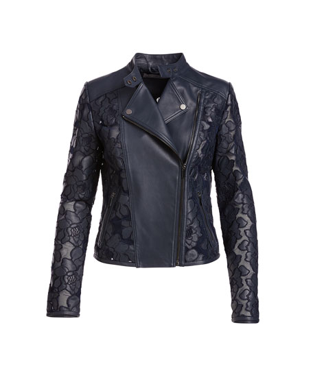 Floral-Crochet Leather Moto Jacket, Navy