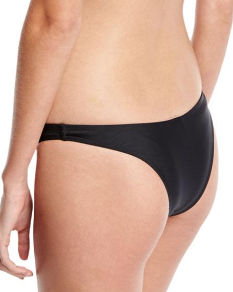 High-Cut Slim Swim Bikini Bottoms, Matte Black