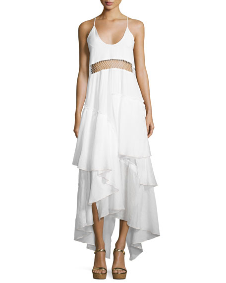 Closer Sleeveless Frill Maxi Dress, White
