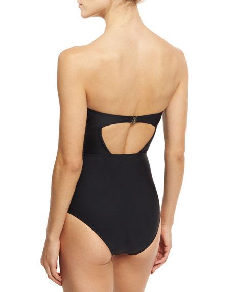 Frill-Trim Underwire One-Piece Swimsuit, Black
