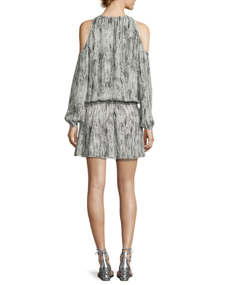 Lauren Snakeskin Cold-Shoulder Blouson Dress, Gunmetal