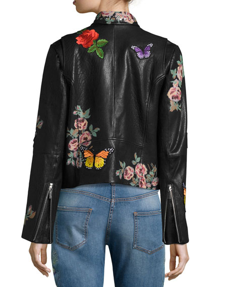 Painted Floral Leather Jacket w/ Embroidered Patches, Black Pattern