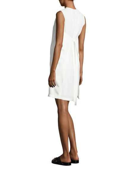 Sleeveless Crepe Apron-Front Shift Dress, Off White