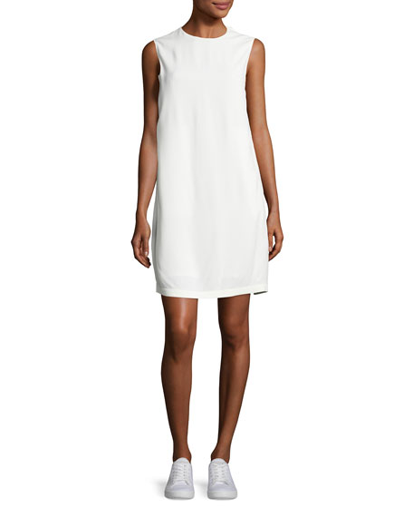 Helmut Lang Sleeveless Crepe Apron-Front Shift Dress, Off