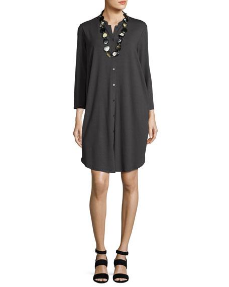 3/4-Sleeve Mandarin-Collar Jersey Shirtdress