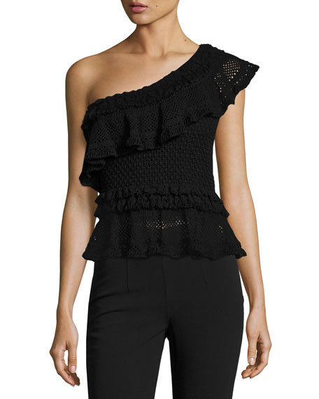 Jonathan Simkhai Ruffle Crochet High-Low Peplum Top, Black