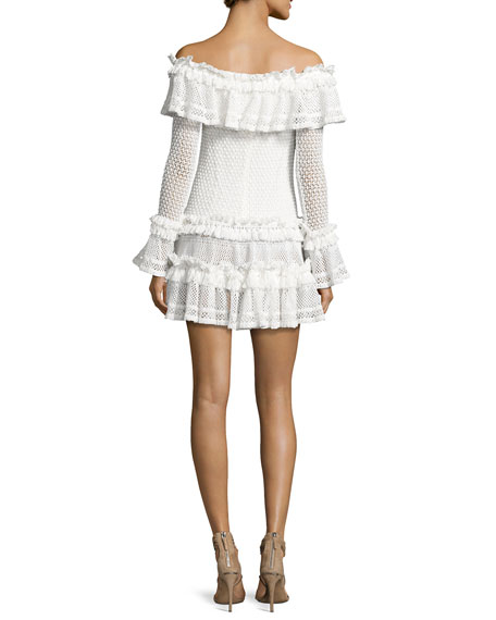 Crocheted Ruffle Off-the-Shoulder Mini Dress, White