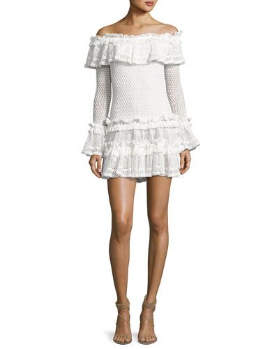 Crocheted Ruffle Off-the-Shoulder Mini Dress, White