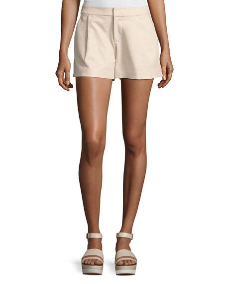 Alice + Olivia Arosa Pleated Leather Shorts, Gold