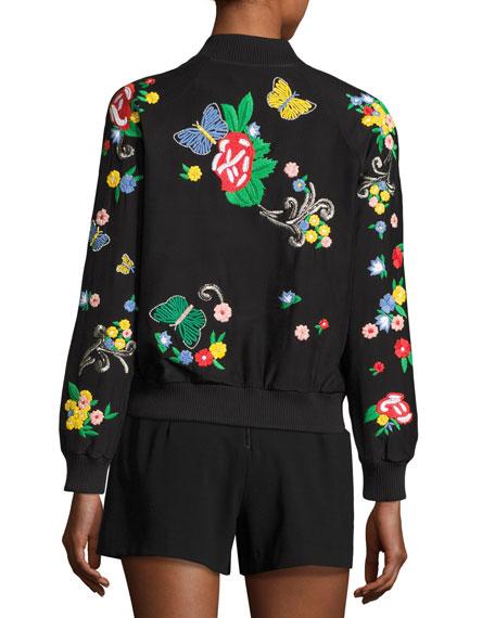 Felisa Embroidered Bomber Jacket, Black Multicolor Online Cheap