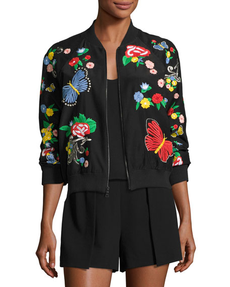 Alice + Olivia Felisa Embroidered Bomber Jacket, Black
