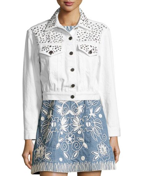 Chloe Studded Cropped Denim Jacket, White