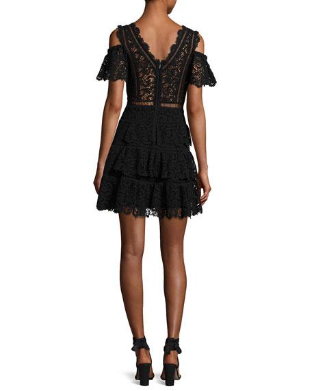 Cold-Shoulder Lace Dress, Black