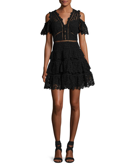 Rebecca Taylor Cold-Shoulder Lace Dress, Black