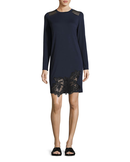 Elie Tahari Zuma Long-Sleeve Lace-Trim Shift Dress, Blue/Black