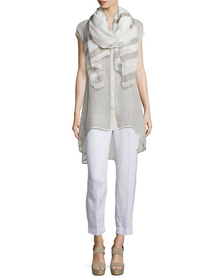 Sleeveless Button-Front Mesh Shirt