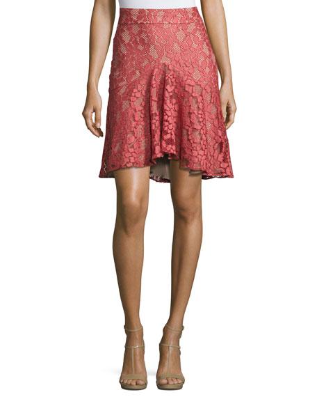 Braxten Lace Flared Godet Skirt