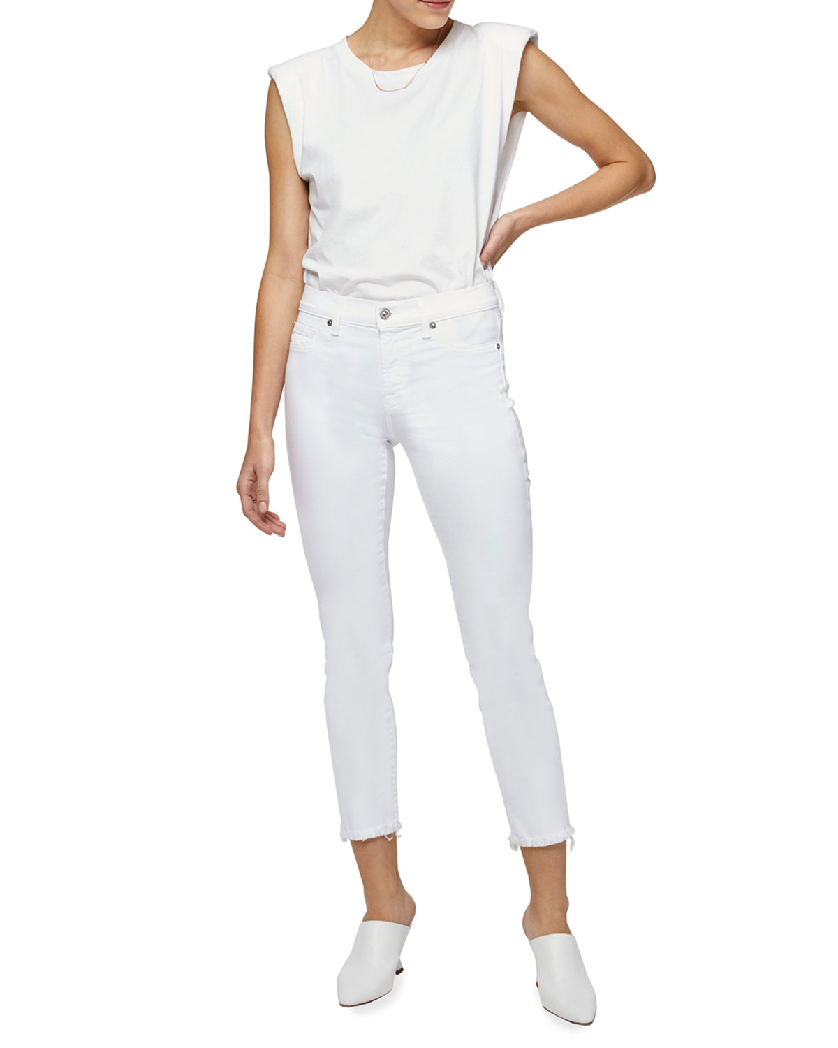 5b78e2ca93 7 for all mankind Roxanne Raw-Edge Ankle Skinny Jeans, White ...