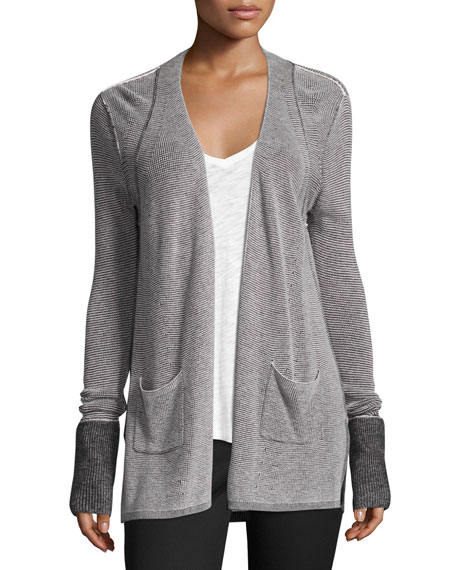 ATM Anthony Thomas Melillo Waffle-Knit Open-Front Cardigan,