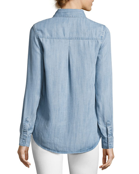 Long Sleeve Button-Down Denim Shirt, Blue