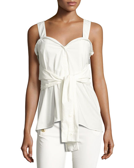 Derek Lam 10 Crosby Sleeveless Tie-Front Sweetheart Poplin Top, White
