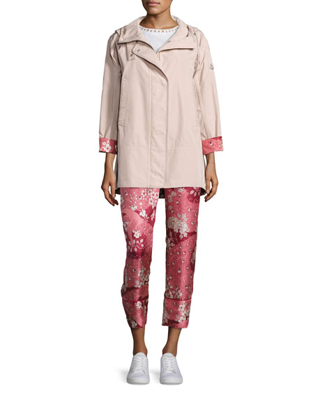 Moncler Pulsatille Hooded Canvas Jacket, Blush and Matching