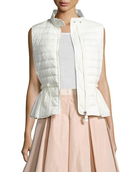 Valensole Lace-Trim Peplum Puffer Vest, White