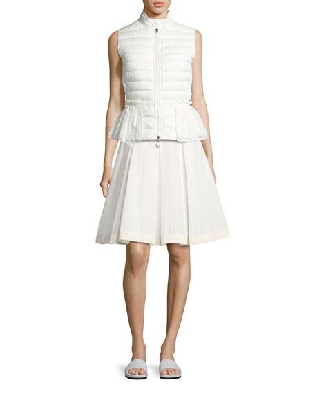 Moncler Valensole Lace-Trim Peplum Puffer Vest, White