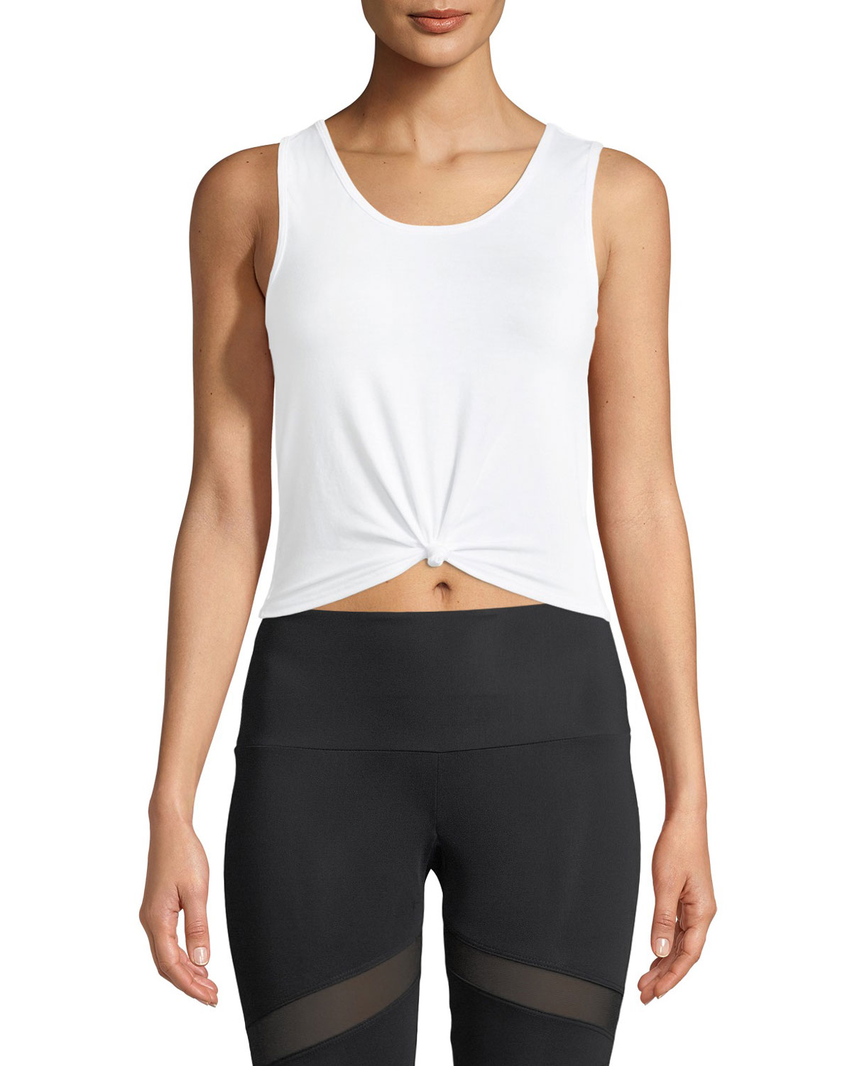 Onzie Knot Cropped Tank Top  White