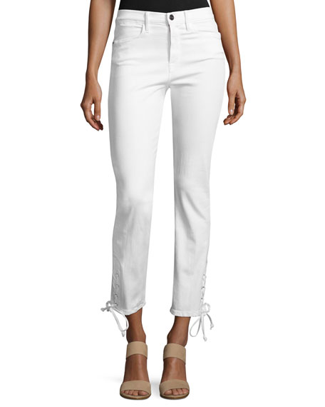 FRAME Le High Straight Lace-Up Jeans, Blanc
