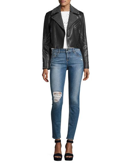 Jane Distressed Skinny Jeans, Light Blue