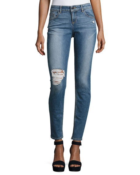 Alice + Olivia Jane Distressed Skinny Jeans, Light