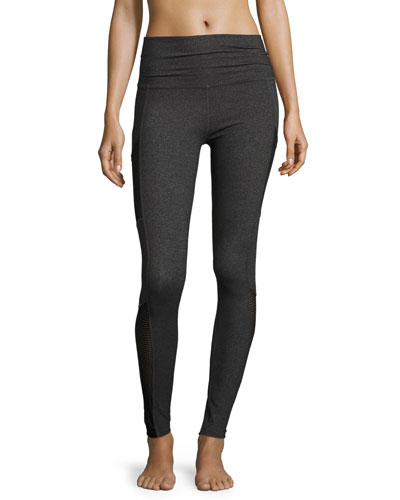 Mesh Behavior High-Waist Performance Leggings, Heather Gray