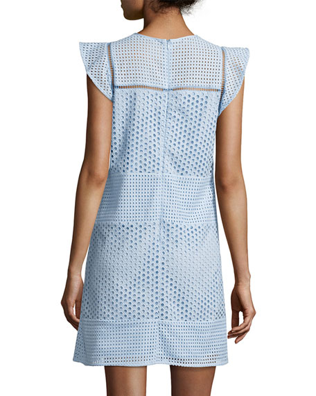Short-Sleeve Eyelet-Combo Shift Dress, Cloud (Light Blue)
