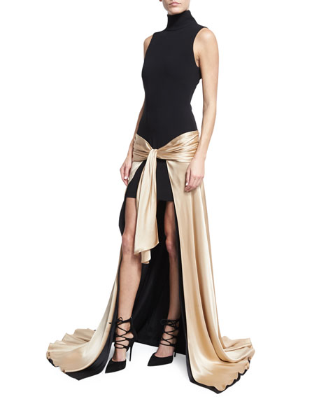 cinq a sept Thea Turtleneck Tie-Waist High-Low Gown,