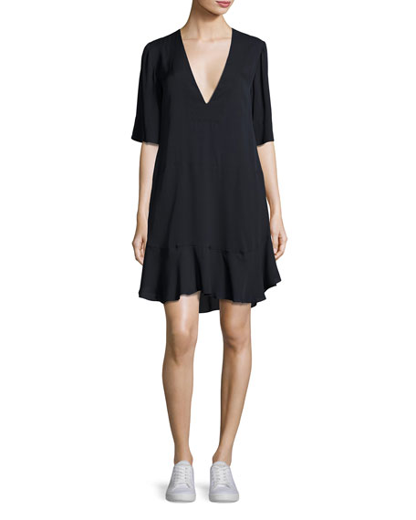 A.L.C. Delaney Short-Sleeve Silk Shift Dress, Navy