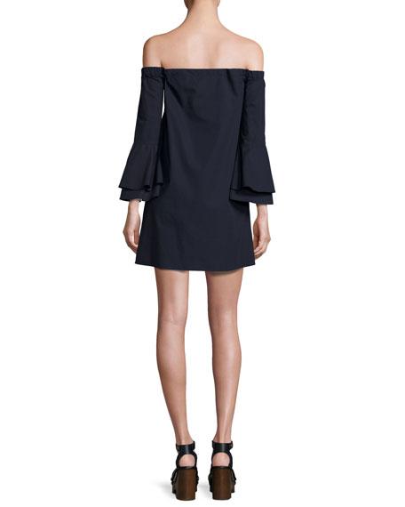 Arabelle Off-the-Shoulder Bell-Sleeve Shift Dress