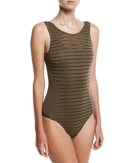 Parallels Mastectomy Ribbed Mesh One-Piece Swimsuit, Stone